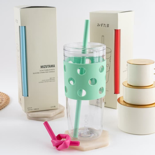 Foto Produk UCHII Mizutama Portable Tumbler Silicone Straw Reusable Gelas Botol 1L - Hijau dari uchii store