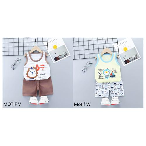 Foto Produk Baju Bayi / Setelan Bayi Anak Lucu / Setelan Oblong Singlet Bayi Anak - MOTIF V dari M&K ( Mom & Kids)