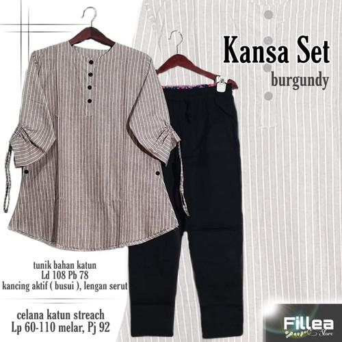Foto Produk New Kansa Set Setelan Celana Wanita Baju Kerja LD 108cm Modis Salur dari Ilyassa Shop