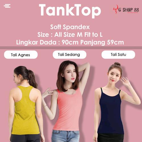Foto Produk Tanktop Wanita Polos Tali Kecil SOFT SPANDEX Singlet Kaos Dalam CEWEK - Hitam, TALI KECIL dari YG Shop88