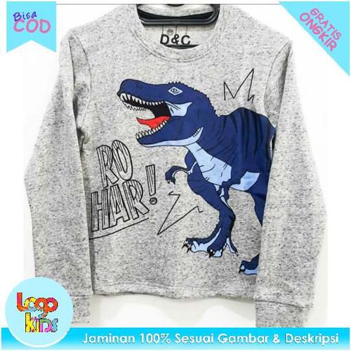 Foto Produk Logokids Baju / Kaos Anak Lengan Panjang Motif Trex Grey 1-10 Tahun - 1 tahun dari logokids