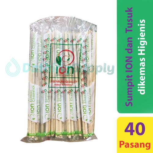 Foto Produk Sumpit Bambu / kayu bungkus merk ION + Tusuk Gigi Steril isi 40 Pasang dari Dathing Supply
