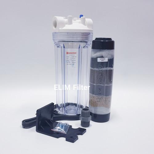 Foto Produk Filter Air 4 in 1 - Saringan Air - Housing 10inch CLEAR - Drat 1 inch dari ELIM FILTER