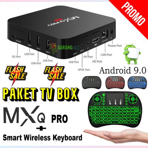 Foto Produk PAKET Android TV Box MXQ Pro 4K Android 9 + KEYBOARD MINI i8 dari SARANG ACC shop