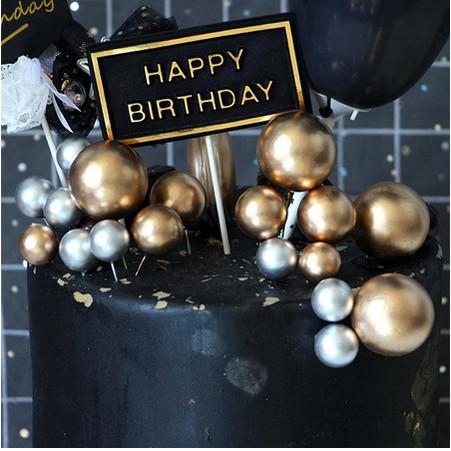 Foto Produk Cake Topper Bola Gold / Silver - Gold dari BeeVee Shop