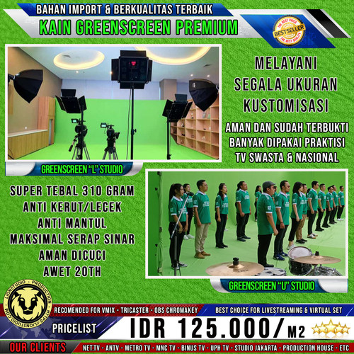 Foto Produk 4x8m Kain Greenscreen Chromakey (Broadcast TV Quality) dari Lion Studio