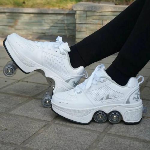 Foto Produk sepatu roda 4 roda roller shoes roller skates sepatu roda orang dewasa - Putih, 36 dari variation stuff
