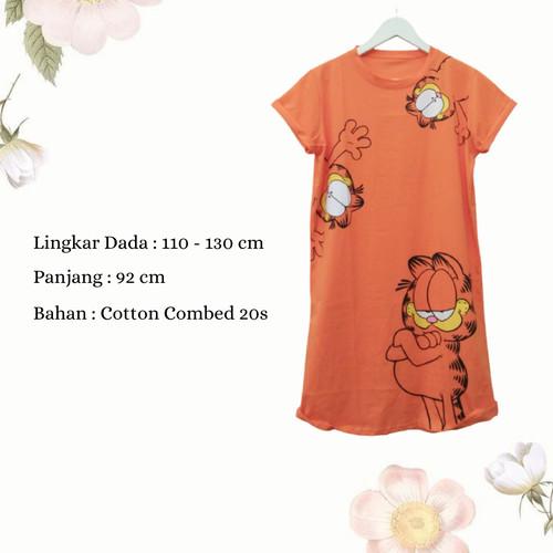 Foto Produk Dress Wanita Jumbo Midi Dress Casual Wanita Dress Karakter Garfield dari Poedie
