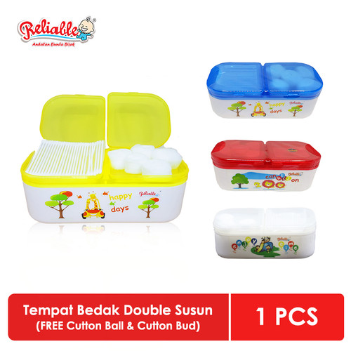 Foto Produk Reliable Tempat Bedak Double Susun | FREE Cutton Ball & Cutton Buds dari Reliable Baby