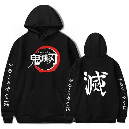 Foto Produk Jaket Sweater Anime Kimetsu No Yaiba Demon Slayer Hoodie Premium - Hitam, M dari LGM shop