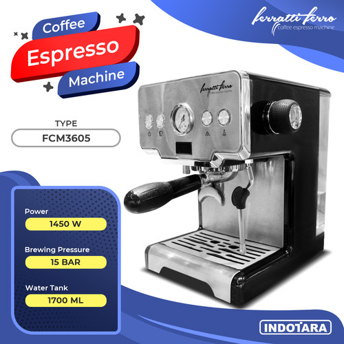 Foto Produk Ferratti Ferro Espresso Machine FCM3605 - Hitam dari PT. Indotara Persada