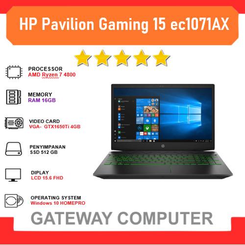 Foto Produk HP Pavilion Gaming 15 ec1071AX Ryzen 7 4800 16GB 512ssd GTX1650Ti 4GB dari Gateway Indonesia Comp