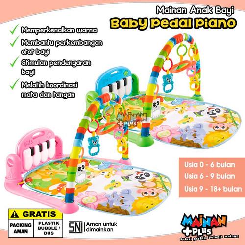 Foto Produk Mainan Bayi Newborn Playmat Piano Fitness Rack Baby Pedal Piano SNI - Merah Muda dari MainanPlus