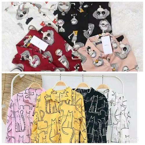 Foto Produk baju atasan kemeja wanita motif lucu kualitas premiun - coksu gaul, L dari My1stShop
