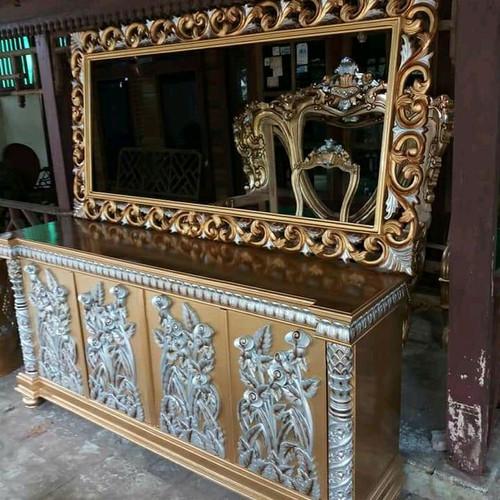Foto Produk lemari pajangan ukiran duco mewah kayu jati dari tokoh furniture murah