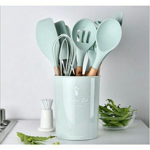 Foto Produk Silicone Utensil Set 11pcs / peralatan spatula silikon sutil - Hijau Mint dari Betapedia