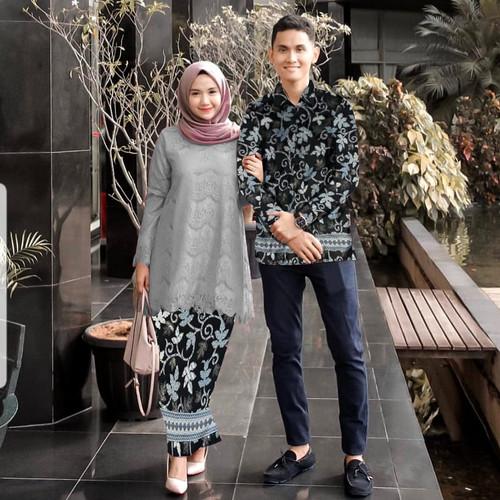 Foto Produk Baju Batik Couple PasanganMotif Brukat Lengan Panjang - Habiba - XL - - Abu-abu, XL dari provence012