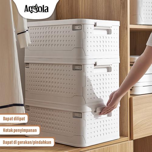 Foto Produk Storage Box Lipat C33 Folding Container Tempat Baju/Mainan Penyimpanan - Putih dari Angola Official Store