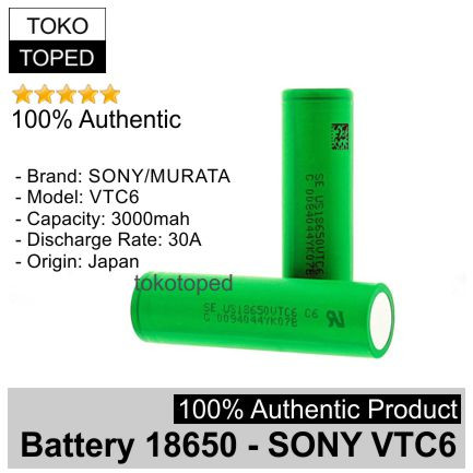 Foto Produk Authentic Battery 18650 Sony VTC6 3000mAh 30A | original baterai vtc 6 dari deKloud