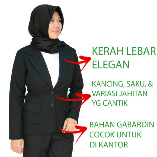 Foto Produk Blazer Wanita Hitam Formal Bahan Tebal Jahitan Rapi - M dari Bunda Wulan Shop