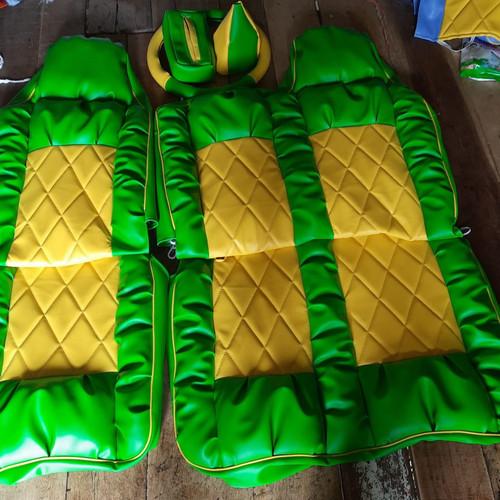 Foto Produk sarung jok mobil canter dyna dutro ragasa hino dutro isuzu nmr&nkr dll - hijau kuning dari Abadi_coverjok