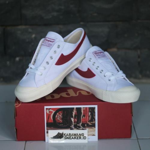 Foto Produk Sepatu Compass Gazelle Low White Red dari Karawang Sneaker ID