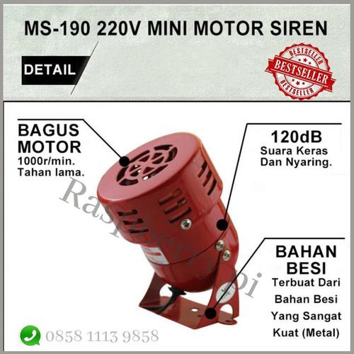 Foto Produk Baby Mini Sirine Siren Alarm MS190 MS-190 220 V AC Sirene Motor Sound dari Raspberry Pi Distributor