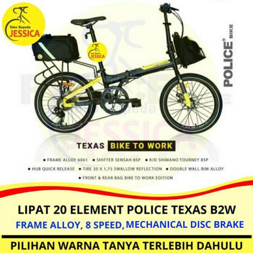 Foto Produk Sepeda Lipat 20 Element Police Texas Bike To Work / Police Texas B2W - Kuning, Dirakit dari Sepeda Jessica