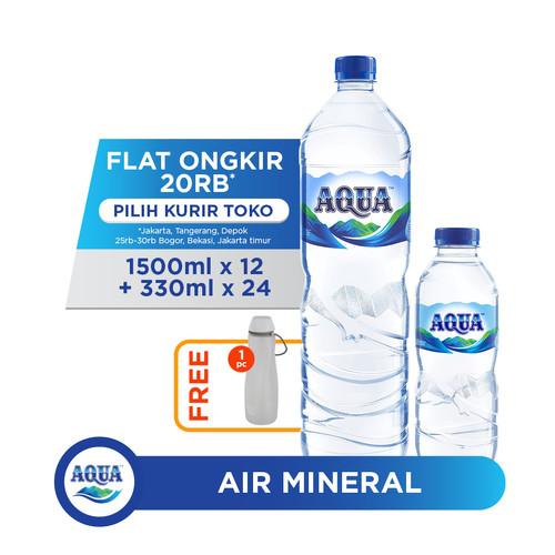 Foto Produk AQUA Air Mineral 12x1500ml & 24x330ml FREE Water Carrier dari AQUA Official Store