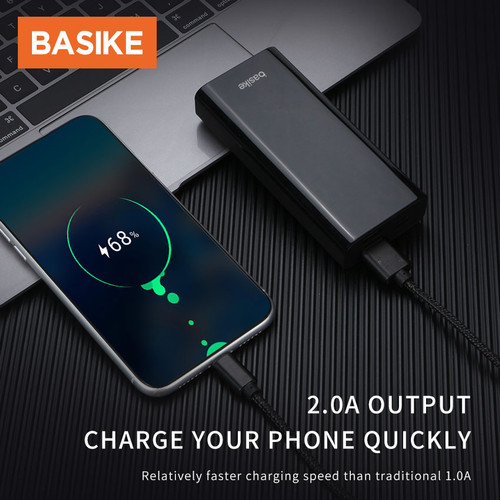 Foto Produk PowerBank Murah Mini Power Bank Dual USB LED BASIKE 10000 mAh Fast - PT806 Black dari Basike Official Store