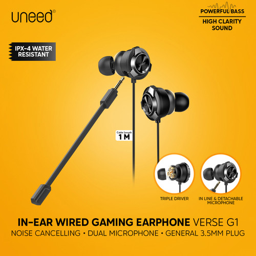 Foto Produk UNEED In-Ear Earphone Gaming Triple Driver & Dual Microphone - UEP131 dari Uneed Indonesia