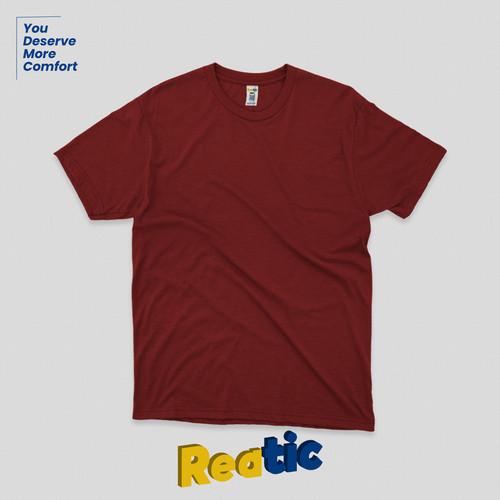 Foto Produk Reatic Kaos Polos Oblong Cotton Premium Soft - Merah Maroon dari Reatic
