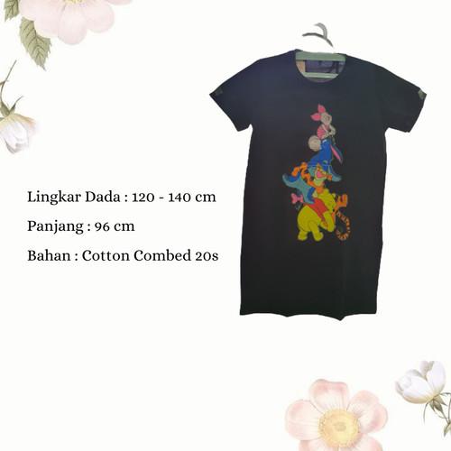 Foto Produk Dress Wanita Jumbo Midi Dress Casual Wanita Dress Karakter Pooh Friend - Hitam dari Poedie