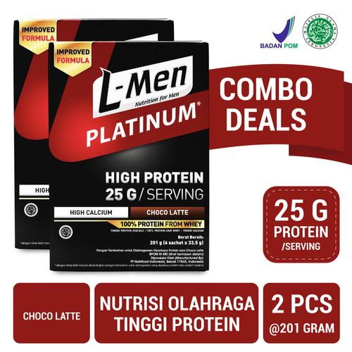 Foto Produk Twin Pack: L-Men Platinum Choco Latte Box (6 Sch) 25gr Protein/Serving dari NutriMart