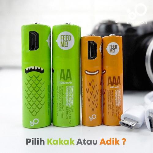 Foto Produk smartoools Baterai AA / AAA rechargeable , cas micro usb microbatt - Hijau ST-AA dari CK Bandana Sby