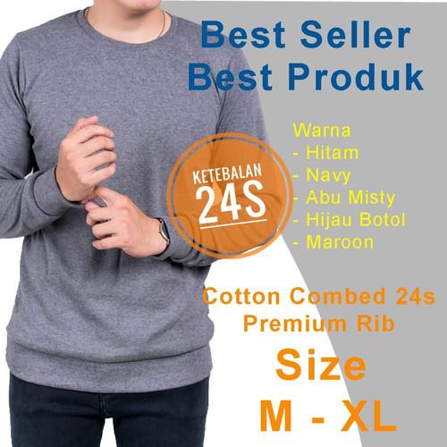 Foto Produk kaos polos lengan panjang rib Cotton Combed 24s Premium - Navy, M dari Galaxy Store GK