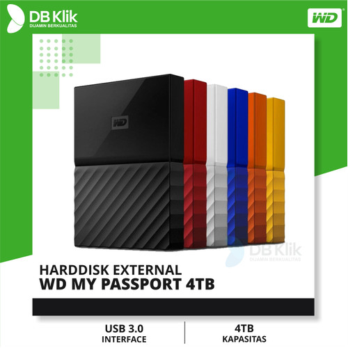 Foto Produk WD My Passport 4TB New Design Portable Harddisk dari dbclick