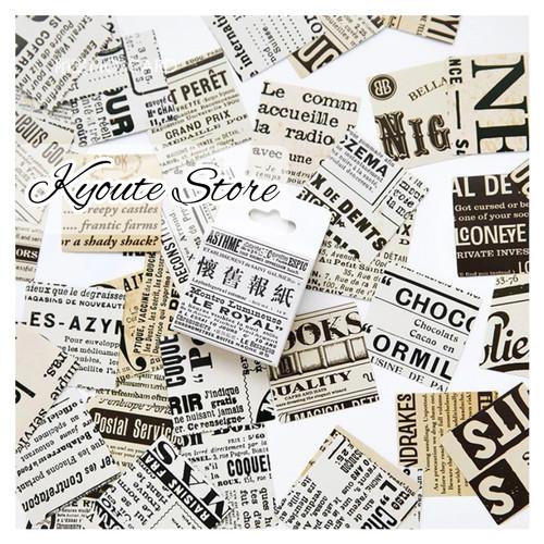 Foto Produk 45 pcs Sticker Retro English Newspaper Vintage Scrapbook DIY Bujo HP dari Kyoute Store