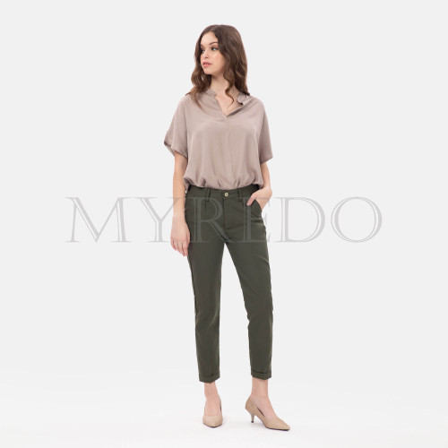Foto Produk MYREDO - Baggy Pants Drill / Celana Bahan Panjang Wanita 6022 - Hitam, L dari myredo