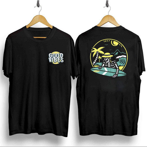 Foto Produk T-shirt Good Vibes / Baju Kaos Distro Pria Wanita Hitam Cotton 30s - Hitam dari revenge eleven