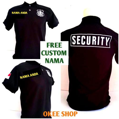 Foto Produk Baju Kaos Pendek Polo Hitam Security Logo Putih FREE Custom Nama - M dari Okee.Shop