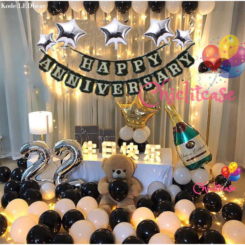 Foto Produk Set paket balon happy anniversary romantis love surprise elegant fancy dari chic lit case
