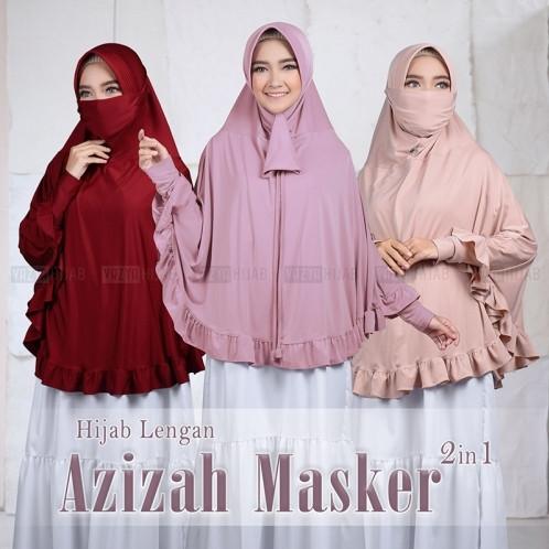 Foto Produk jilbab bergo lengan hijab tangan ruffle azizah plus masker - warna lain nya dari hijabInd.