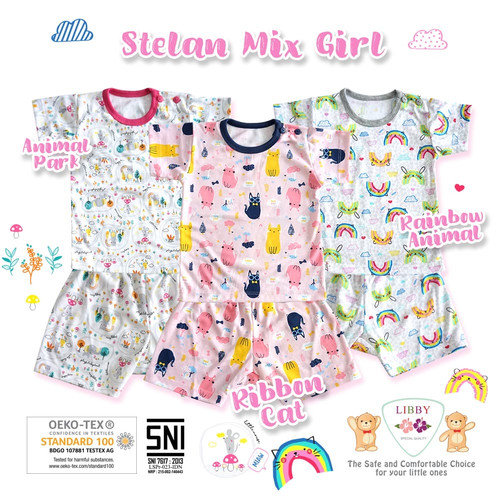 Foto Produk LIBBY Setelan Oblong Pendek & Celana Pendek S,M,L (MIX GIRL) - SIZE S, ANIMAL PARK dari Lemari Anak