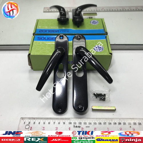 Foto Produk Handle Kunci Pintu Aluminium Pintu Kasa Kawat Soligen Set Hitam - Putih dari Rolins Surabaya