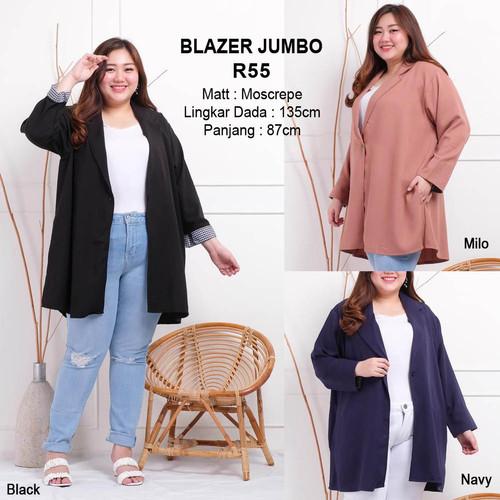 Foto Produk Blazer Jumbo Baju Outer Atasan Wanita Bigsize Lengan Panjang - Moren Hitam dari Paphika