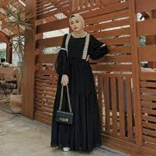 Foto Produk Baju Gamis Wanita Muslim Murah Hayla Maxi Dress Hitam Busui [S M L XL] - Hitam, M dari SugihAgungShop97