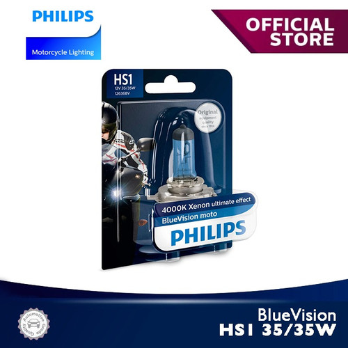 Foto Produk BlueVision 35/35W HS1 4000K 12636BVB1 Bola Lampu Motor Philips dari Philips Moto