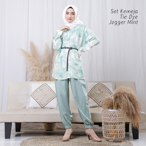 Foto Produk PAJAMAS SET CELANA MUSLIM RAYON KEMEJA TIE DYE JOGGER ( HIJAU MINT ) dari Pusat Mukena Indonesia