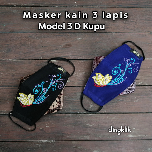 Foto Produk Masker 3D Kain 3ply Kupu - Hitam, EARLOOP dari Dingklik collection